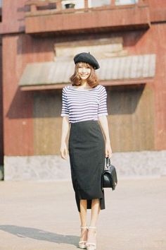 Long pencil skirt and stripes - More Details → http://fashiononlinepictures.blogspot.com/2012/05/long-pencil-skirt-and-stripes.html.