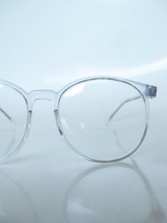 c2abf5c2a1 Vintage Clear Round Eyeglasses 1970s Oversized Wayfarer Ice Glass Crystal  Indie Hipster Geek Chic 70s Round