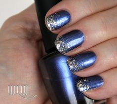 """Lola's NYE '15 mani:  OPI """"Into The Night"""", Glitters:  Pure Ice """"Don't You Wish"""" and Essie """"Set in Stones"""", Seche Vite top coat."""
