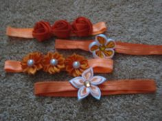 Set of 4 headbands You get ALL 4 headbands one low price  All Oranges by RNNan13 on Etsy Baby Items For Sale, Headbands, Etsy, Accessories, Head Bands