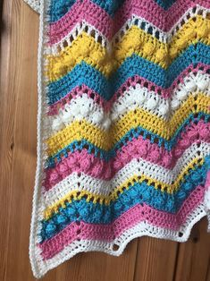 Bobble Stitch Crochet Blanket, Chevron Crochet Blanket Pattern, Easy Crochet Blanket, Afghan Crochet Patterns, Diy Crochet, Crochet Stitches, Crochet Afghans, Crochet Blankets, Baby Blankets