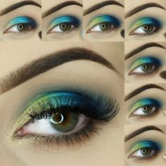 """Aptly named 'Sapphire Shores', this look by @glamdivapl has a fresh, aquatic  feel thanks to the vibrant combination of blues and greens!  Featured…"""