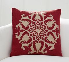 Reindeer Wreath Embroidered Pillow Cover