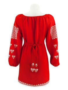 """Women's red blouse with white """"Naddnipryansky"""" ornament"""