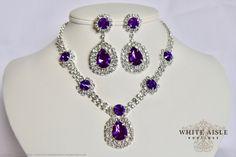 Purple Rhinestone Necklace Set Bridal by WhiteAisleBoutique