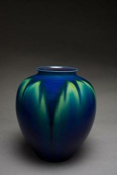 Incredible blue and green ceramic pot