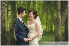 Wedding couple hugging in trees in Barberstown Castle.   Wedding Photography by Bigger Picture Photography, Caragh, Co. Kildare, Ireland