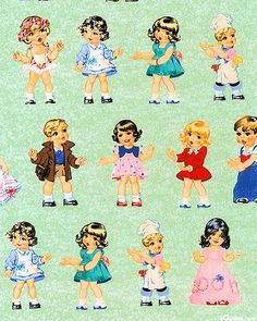 Paper Doll Cuties - Fashion Show Rows - Willow Green