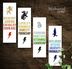 Hogwarts House Virtues Printable Bookmarks  |  DIY Printable  |  Party Favors  | Stocking Stuffers