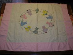 "VINTAGE DUTCH GIRL QUILT 51"" X 41""  