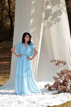 Chiffon dress, Blue bridesmaid dress, Bridesmaids long dress, Backless long dress, Maxi blue dress Boho bridesmaids dress Blue wedding dress