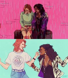 Ooh baby do you know what that's worth? Ooh heaven is a place on earth! Lesbian Art, Lesbian Love, Vintage Lesbian, Lgbt Couples, Cute Couples, Black Mirror San Junipero, Live Action, Fanart, Pretty Art