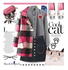 """""""Cool Cat with Beautifulhalo.com"""" by hamaly ❤ liked on Polyvore featuring moda, Betsey Johnson, ootd, denimskirt, coats ve fallstyle"""