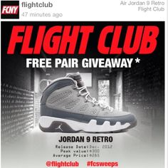 15fc9433a174 Giveaway Alert  Download Swaag   Follow  Flight Club for details on how to  win the Air Jordan 9 Retro Cool Grey  fcsweeps  giveaway  sneakers  jordan  ...