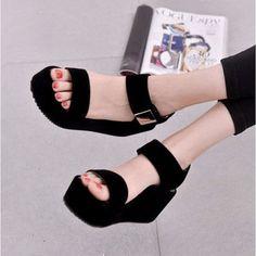 Black Pu Korean Style Metal Platform Hook Loop Peep Toe Gladiator Sandals is comfortable to wear. Shop on NewChic to see other cheap women sandals on sale. Buy Shoes, Shoes Heels, High Heels, Flat Shoes, Sandal Heels, Nike Shoes, Oxford Shoes, Shoes Sneakers, Korean Shoes