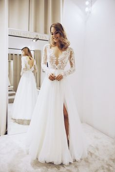Elegant A Line V Neck Long Sleeves Lace Wedding Dresses with Split, Simple Wedding Dresses Elegant A Line V Neck Long Sleeves Lace Wedding Dresses with Split, put down your size or date requirement in the note box when you check out Dresses Elegant, Elegant Wedding Dress, Cheap Wedding Dress, Simple Dresses, Lace Wedding, Dresses Dresses, Casual Wedding, Event Dresses, Occasion Dresses