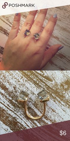 crystal and gold ring Super cool crystal and gold ring with open design at top Jewelry Rings