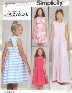 Simplicity Pattern 8307 Size 8-16 Girls Plus Dress Bodice Lengths Uncut 2017 #Simplicity