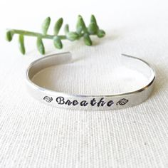 Breathe Inspirational Quotes Bracelet Cuff by ClairAshley on Etsy