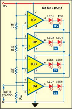 Led voltmeter note. You can use LM324 instead of μ741