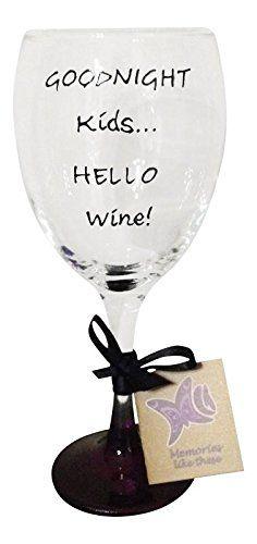 Purple 'Goodnight Kids, Hello Wine' Hand Painted 340ml Wine Glass Memories-Like-These http://www.amazon.co.uk/dp/B00J3ATIVK/ref=cm_sw_r_pi_dp_1nIXvb1T05B1H