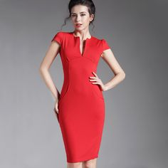 Spring Sexy red black Deep V bodycon bandage Business work office Party Pencil sheath vintage women summer casual dress 521 http://s.click.aliexpress.com/e/6AiUZZr