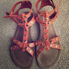 Steve Madden gladiators Orangey salmon colored sandals with gold studs. Great condition/basically brand new. Probably worn only once. Great with shorts and even jeans. Super cute piece to add to any wardrobe. Fits like a 7.5 to an 8. Steve Madden Shoes Sandals