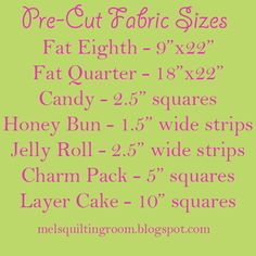 The Quilting Room with Mel: Let's Talk Quilting - Pre-Cut Fabrics