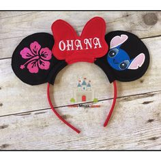 Lilo and Stitch Inspired Mouse Ears With a Red or White Bow. ($20) ❤ liked on Polyvore featuring accessories, hair accessories, headbands & turbans, red, hair band accessories, head wrap headband, turban headband, bow headwrap and red turbans