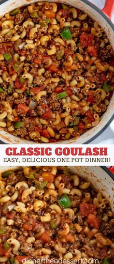 Classic goulash from ONE POT with ground beef, bell pepper, onions and . - Classic goulash from ONE POT with ground beef, bell pepper, onions and … – # … - Ground Beef Recipes For Dinner, Dinner With Ground Beef, Dinner Recipes, Ground Beef Pasta, Ground Beef Goulash, Pasta With Beef, Hamburger Goulash, Ground Beef Dishes, Healthy Ground Beef