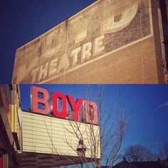 Boyd Theatre Signs. #sign #signs #theatre #theater #marquee #brick #brickbuilding #faded #worn #weathered #historic #dilapidated #red #blue #sky #city #citylife #christmascity #downtown #broadstreet #view #scenery #pennsylvania #bethlehem #lehighvalley #march #sunnyday #sunny #winter
