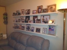 Briggsy's $10 Dollar a Shelf Wall of Shame...thanks Pinterest for the idea...thanks to my Husband for making it happen ♥♥♥
