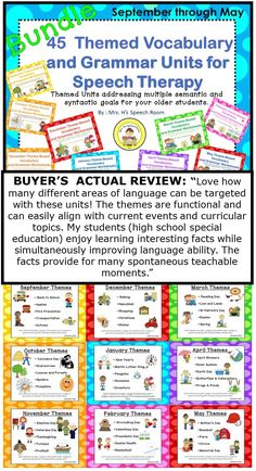 Bundle: Themed Vocabulary and Grammar Units for Speech Therapy and ELL/ESL