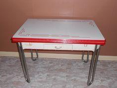 Vintage White w/ Red Trim Enamel Porcelain Leaf Kitchen Table w/ Drawer 1940's #ArtDeco #Unknown