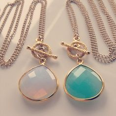 Long Lost Jewelry Light Catcher moonstone necklace and Lagoon sea green chalcedony stone necklace.