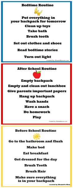 Back to school charts: Bedtime routine, After school routine, Morning routine. Having a routine makes children feel stability, where children who have no routine have more behaviors and feel insecure. After School Routine, School Routines, Morning Routines, Daily Routines, Daily Schedules, School Schedule, Daily Routine Chart For Kids, Bedtime Routine Chart, Morning Routine Chart