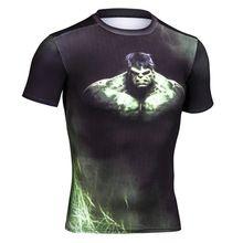2016 homens verão compressão camiseta o Hulk em 3D impresso calças de manga  curta dos homens 73fe0738775d2