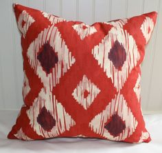 SALE  Red and White Ikat Pillow Cover / 18 X 18 by StitchandBrush