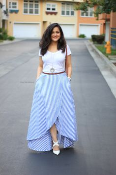 This over-lapping striped beauty! Absolutely loving how the ends of this skirt overlap; making it look like it could be self tied. Frock Fashion, Fashion Dresses, Indian Designer Outfits, Designer Dresses, Long Skirt Outfits, Dress Outfits, Frock For Women, Western Dresses For Women, Long Skirts For Women