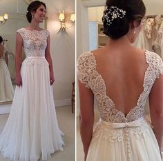 2015 Fashion Summer Beach Chiffon A Line Wedding Dresses Sexy Backless Lace Apliques Glamorous Floor Length Cap Sleeves Bridal Gowns BA52, $123.93 | DHgate.com