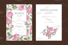 Pink Garden Roses. Vector set. Wedding Fonts