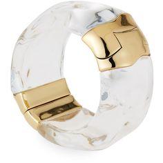 Alexis Bittar Liquid Side Hinge Cuff Bracelet ($395) ❤ liked on Polyvore featuring jewelry, bracelets, hinged bangle, clear lucite jewelry, lucite jewelry, alexis bittar jewelry and alexis bittar