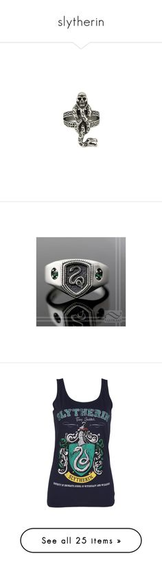 """""""slytherin"""" by moe42564 ❤ liked on Polyvore featuring jewelry, rings, dark jewelry, cocktail ring, dark ring, holiday jewelry, evening jewelry, harry potter, green silver ring and silver rings"""