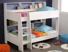 Latitude Single Bunk Bed - White - Bunk Beds - Kids Bedroom - Kids Furniture - bookcase behind bed Cheap Bunk Beds, Bunk Beds With Storage, Bunk Bed With Trundle, Bunk Beds With Stairs, Cool Bunk Beds, Kids Bunk Beds, Bed Storage, Loft Beds, King Single Bunk Beds