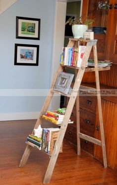 DIY!  A cool way to upcycle an old wood ladder and turn into into a useful piece in your own home!    By Kelly Whitman | The Pink Hammer blog  www.thepinkhammer...  Artwork on the wall by Endless Acres Photography www.endlessacresp...