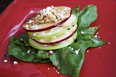 """Game of Thrones Themed Recipe! Vegetarian & Gluten Free Salad topped with Apples, Cheese, Nuts with a Honey Balsamic Dressing - - - """"Cersei set a tasty table, that could not be denied. They started with a creamy chestnut soup, crusty hot bread, and greens dressed with apples and pine nuts."""" -A Clash of Kings"""""""