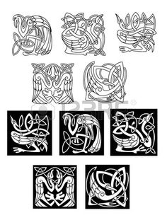 Stork and heron birds in celtic ornaments or patterns in black and white on both a white and black background, vector illustration