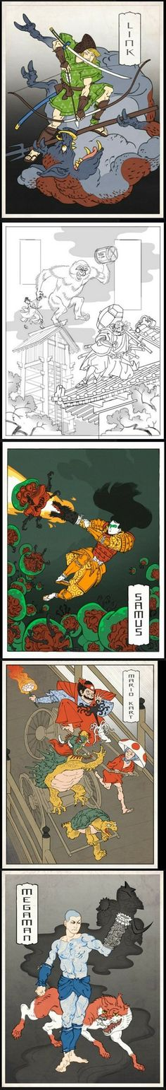 Jed Henry's Ukiyo-e Games...video game art done Japanese woodblock style!