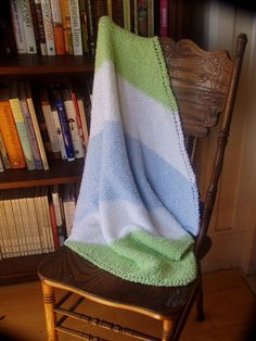 Diagonal Knitted Baby Blanket by DonuraDesigns on Etsy, $48.00