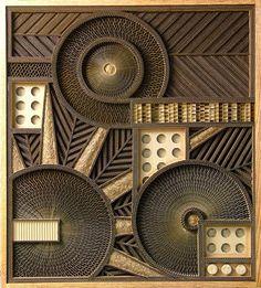Simply Creative: Corrugated Cardboard Sculpture by Mark Langan Cardboard Sculpture, Cardboard Crafts, Sculpture Art, Cardboard Design, Cardboard Furniture, Cardboard Boxes, Cardboard Relief, High School Art, Assemblage Art